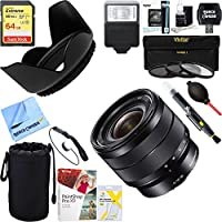 Sony 10-18mm f/4 Wide-Angle Zoom E-Mount Lens (SEL1018) + 64GB Ultimate Filter & Flash Photography Bundle