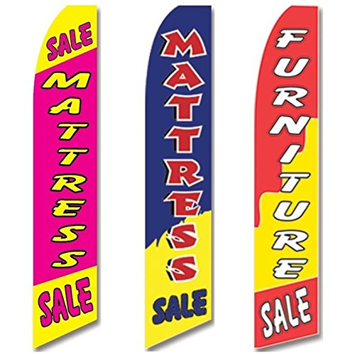 Cheap 3 Swooper Flags Home Mattress Furniture SALE Welcome Open for cheap