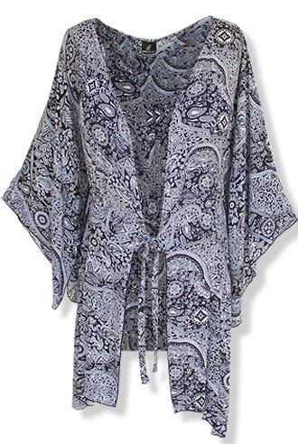 Fashion Fulfillment Womens Clothing Plus Size Kimono Tunic Cardigan, Kimono Sleeve, Plus Size 1X 2X 3X (One Size: 2X/3X, Black White Paisley) by Fashion Fulfillment (Image #2)