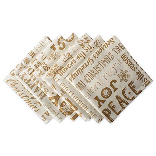 DII 100% Cotton, Machine Washable, Printed Metallic 20x20 Napkin Set of 6, Gold Christmas Collage