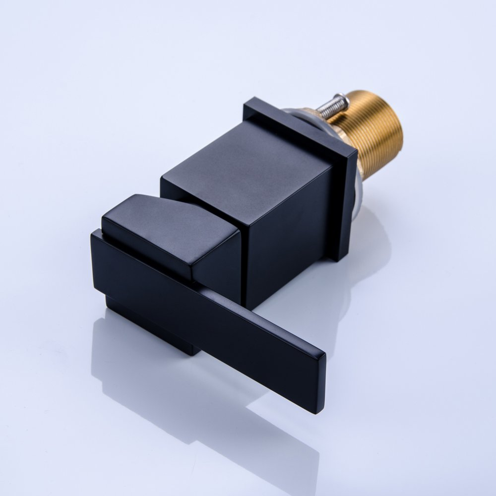Kunmail cascata miscelatore a fori rubinetto miscelatore per vasca da bagno con doccetta in solido nero