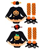 CHICTRY Baby Girls Halloween Ruffle Pumpkin Tutu Dresses Romper Costume with Headband Leg Warmer Shoes Set