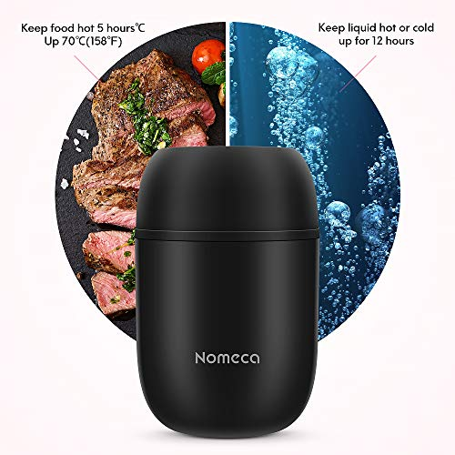 Kids Keep Food Warm Lunch Container - Wide Mouth Hot Food Jar For Lunch Boxes Nomeca 16Oz Stainless Steel Thermal food containers Vacuum Lunch Box With Spoon for Kid Adult School Office Outdoor, Black