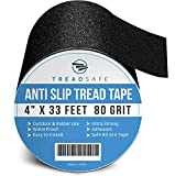 Anti Slip Grip Traction Tape by TreadSafe - 4 Inch x 33 Foot - Grip Tape for Stairs, Non Slip Tape, Traction Tread, Abrasive Adhesive for Steps