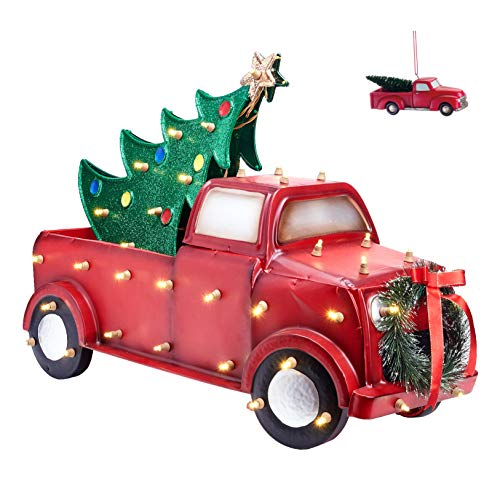 "Holiday Time Light-Up Metallic 30"" Truck Hauling a Tree and a Bonus Mini Pickup Truck Ornament"