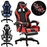 KEANTY Ergonomic Computer Office Racing Gaming Chair Large Size PU Leather High Back Widen Thicken Seat Retractable Footrest Lumbar Support (Red)