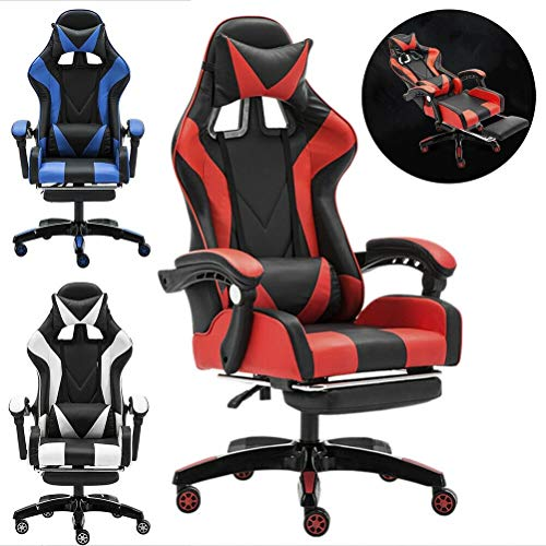 KEANTY Ergonomic Computer Office Racing Gaming Chair Large Size PU Leather High Back Widen Thicken Seat Retractable Footrest Lumbar Support (Red) Story of Next Day