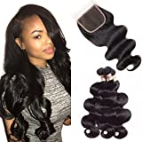 PoleStar Hair Brazilian Virgin Body Wave Hair 3 Bundles with 1PC 44 Free Part Lace Closure 100% Unprocessed Human Hair Weave Extensions Natural Color (14 16 18+12 inch closure)