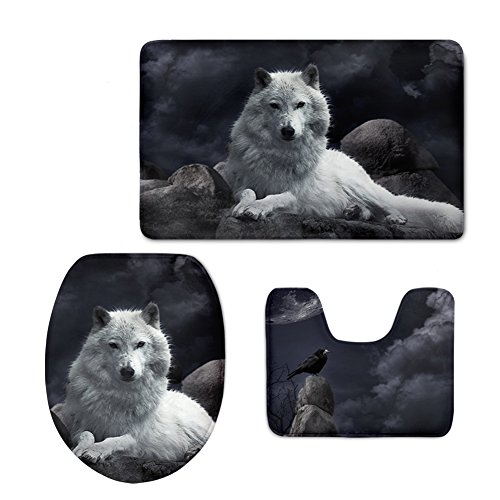 CHAQLIN 3 Pcs/Set Animal Bathroom Rug Contour Mat Tank Top Lid Covers for Modern Home with Wolf Face