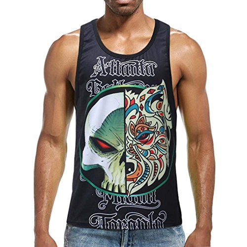 (vermers Clearance Fashion Tank Tops for Men - Surf Sport Beach Swimming Fitness Vest Slim Fit Muscle T Shirt(L, Black))