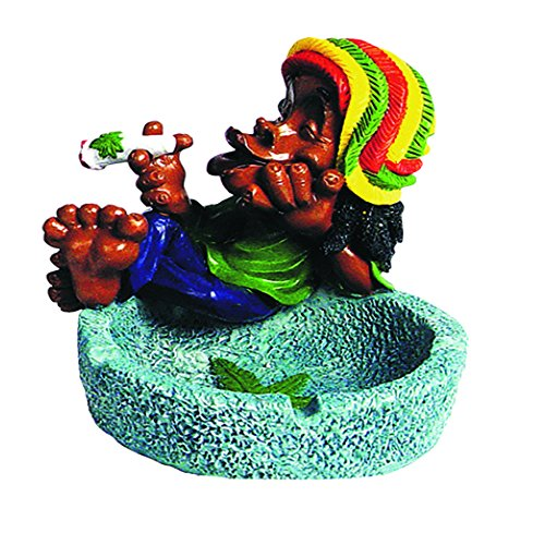 Ashtray Rasta Figurine Ashtray - Jamaican Man Smoking Marijuana Joint Ashtray - Weed Hemp Pot Cannabis Party Accessory Stonewashed Blue