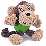 Cheap EETOYS Monkey Dog Toys, Plush Toys,Squeaky Toys with Chew Guard Rubber Ball Interactive Dog Toys