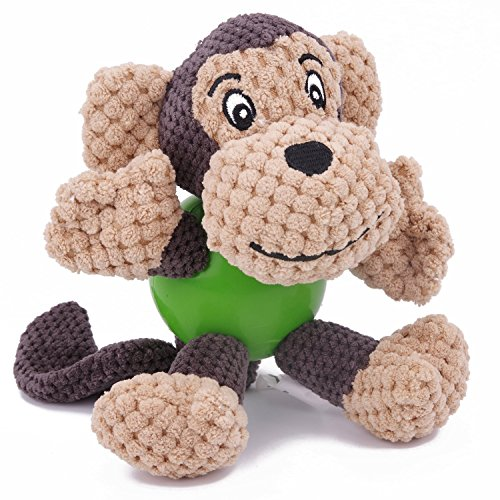 Plush Dog Rubber Toy (EETOYS Dog Toys, Plush Squeaky Toys with Chew Guard Rubber Ball)