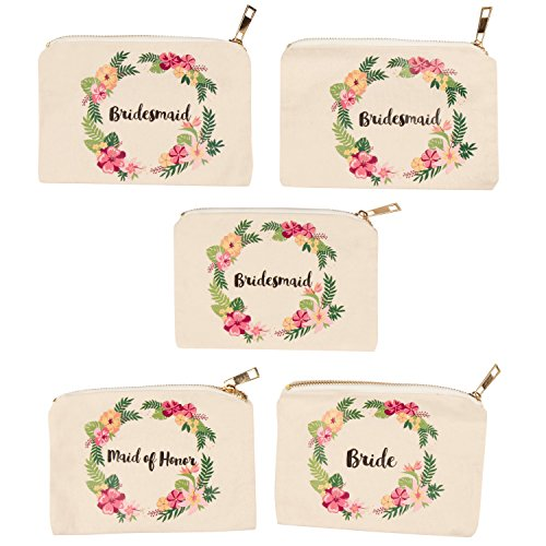 Bridesmaids Gift Bags (Bridal Shower Makeup Bag - 5-Pack Canvas Cosmetic Pouches for Wedding Favors, Bachelorette Party Gifts, Bride Tribe Accessories, Tropical Floral Wreath Design, 7.2 x 4.7)