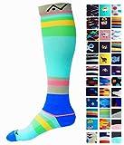 Compression Socks (1 pair) for Women & Men (Sky Stripes, S/M)