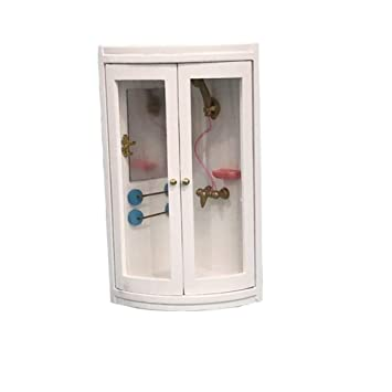 1//12 Dollhouse Miniature Bathroom Furniture White Shower Room Toy Accessory