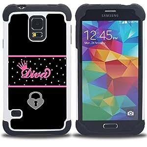 - diva crown queen heart locked black polka - - Doble capa caja de la armadura Defender FOR Samsung Galaxy S5 I9600 G9009 G9008V RetroCandy