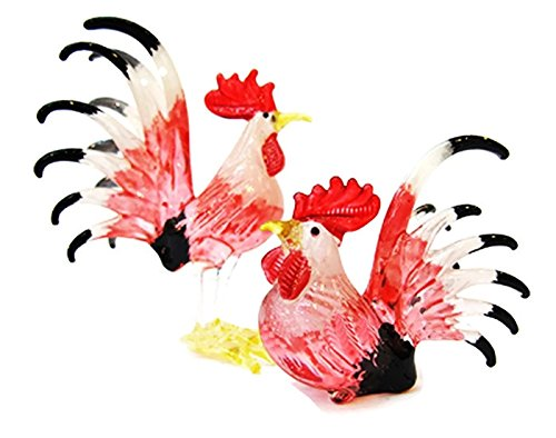 ChangThai Design Farm MINIATURE HAND BLOWN Art GLASS Couple Rooster White Red Color FIGURINE Collection