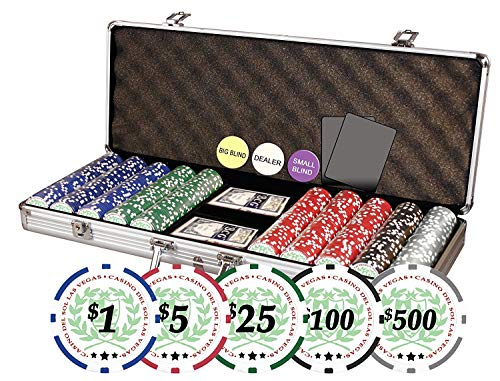 Da Vinci Professional Casino Del Sol Poker Chips Set with Case (Set of 500), 11.5gm (Vegas Clay Las Poker)