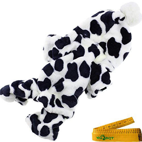 [Cozy Cow Printed Flannel Pet Dog Cat Pajamas Jumpsuit Apparel Clothes with Hat for Dogs Cats Pets (CHEST GIRTH: about 18.1] (Pet Dalmatian Costumes)