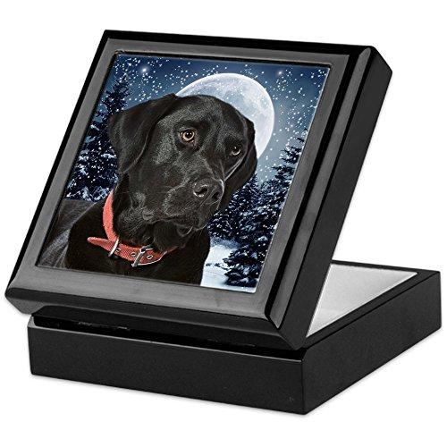 CafePress Black Lab Keepsake Box, Finished Hardwood Jewelry Box, Velvet Lined Memento - Tile Labrador Box
