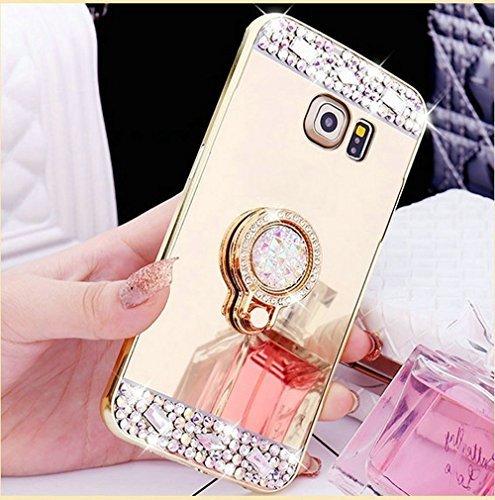 iPhone 7 Plusケース, Inspirationcクリスタルラインストーンミラーガラスケースキラキラ光るダイヤモンドソフトゴムメイクアップケースfor iPhone 7 Plus 5.5インチwith取り外し可能360度リングスタンド Samsung Galaxy S7 Edge ゴールド B06XDLG4X2 Samsung Galaxy S7 Edge|ゴールド ゴールド Samsung Galaxy S7 Edge