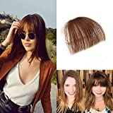HIKYUU Clip on Front Fringes Bangs Remy Brazilian Human Hair Extensions Real Remy Human Hair Light Brown Bangs without Temples
