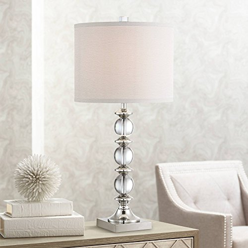 Mona Modern Table Lamp Stacked Crystal Glass Globe Chrome Drum Shade for Living Room Family Bedroom Nightstand - Vienna Full Spectrum