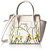 Calvin Klein Mini Saffiano Leather Floral Applique Crossbody, White Floral