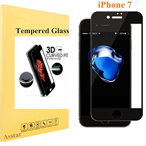 iPhone 7 Screen Protector, empered Glass Asstar 3D [Full Coverage] 2.5D Round Edge Edge to Edge 9H Hardness Ultra Clear Anti-Fingerprint HD Screen Protector for Apple iPhone 7 - 3gs Cracked Iphone