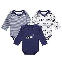 EsTong Unisex Baby Infant Long Sleeve Toddler Babywear Bodysuit Onesies 3-pack