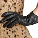 Nappaglo Nappa Leather Gloves Warm Lining Winter Handmade Curve Imported Leather Lambskin Gloves for Women (XL, Black)