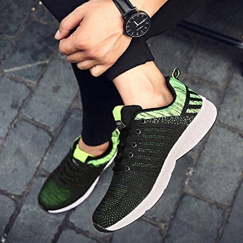 NEOKER Mens Lightweight Trainers Gym Outdoor Running Sports Shoes Breathable Casual Sneakers Blue Green Grey Orange 39-45 Green z0Ia8A