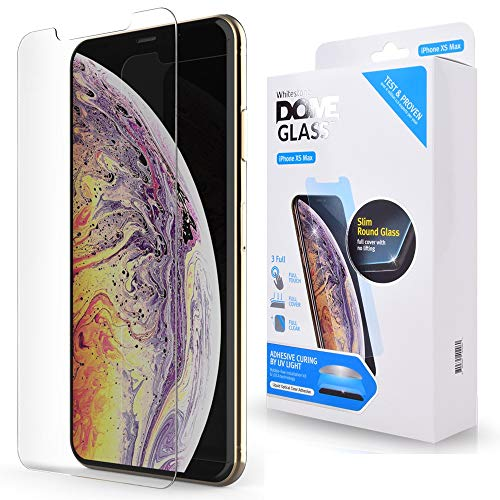 (iPhone Xs MAX Screen Protector Tempered Glass, Full Cover Screen Shield [No UV Light Included] Backup Kit by Whitestone for Apple iPhone 10s MAX (2018) - Replacement Only)