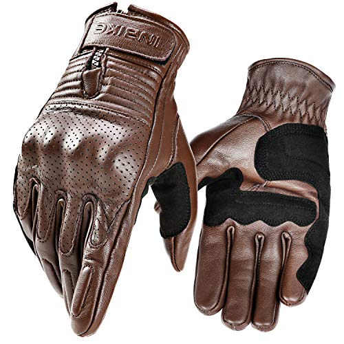 - INBIKE Motorcycle Genuine Leather Gloves Men's Protective Motorbike Gloves Brown Medium