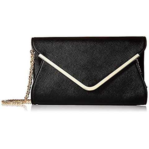 Chichitop Leather Evening Envelope Clutches Bag with Drop-in Chain Shoulder Strap for Women 2016 New Handbags Shoulder Bags,Black
