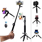 Gopro Extendable Monopod Handheld Selfie Stick with Tabletop Tripod stand and Cellphone bluetooth Remote Control For GoPro Hero Cameras, iPhone, Samsung Galaxy, Xiaomi yi 4K eken H9,Digital Cameras.