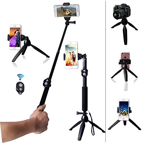 Gopro Extendable Monopod Handheld Selfie Stick with Tabletop Tripod stand and Cellphone bluetooth Remote Control For GoPro Hero Cameras, iPhone, Samsung Galaxy, Xiaomi yi 4K eken H9,Digital Cameras. by Pengrui
