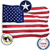 Jetlifee American Flag 3X5 Ft by U.S. Veterans Owned Biz. Heavyweight Nylon Embroidered Stars Sewn Stripes and Brass Grommets US Flag. All Weather Indoors Outdoors USA Flag 3 X 5 Foot For Sale