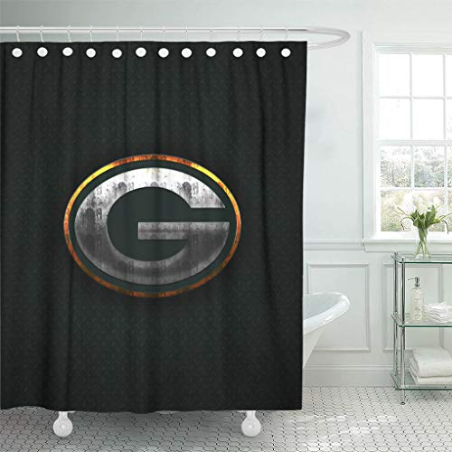 Ladble Decor Shower Curtain Set with Hooks Green Bay Packers Green Bay Wisconsin Creative Art Emblem Green Metal Background Football 66 X 72 Inches Polyester Waterproof Bathroom