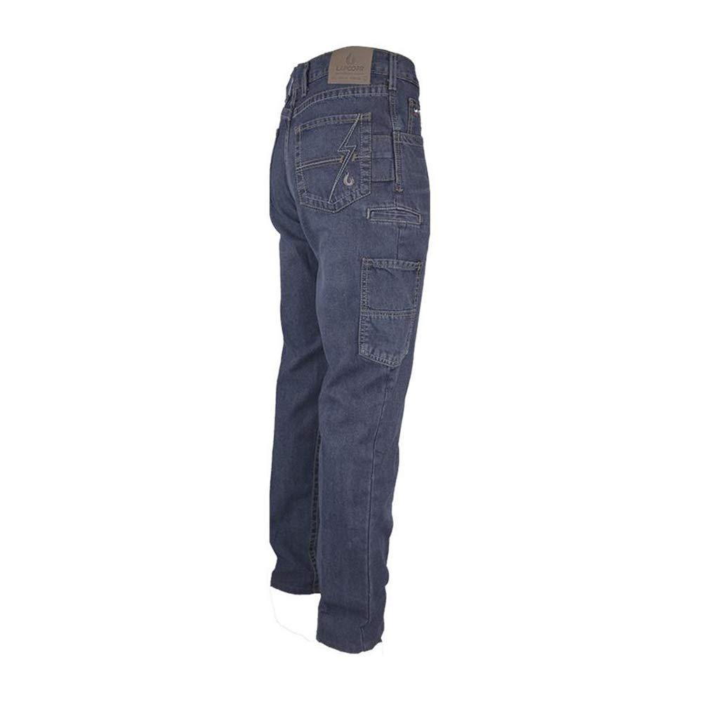 Lapco FR P-INDM10U 36X36 100/% Cotton Flame-Resistant Utility Jeans,Cotton 36 x 36 Medium Washed Denim