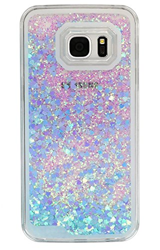 S7 Case, Liquid Quicksand Bling Adorable flowing Floating Moving Shine Glitter Love Heart BLLQ Hard PC Case for Samsung Galaxy S7 (Bling Heart Light Blue)