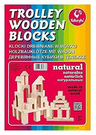Holzspielzeug Kukuryku wooden blocks farbig Bauklötze aus Holz 37 Teile ab 3 Jahre