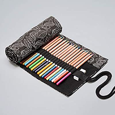 JUSTDOLIFE Portable Paint Brush Case Pencil Roll Wrap Pencil Wrap Leaves Print 72-Capacity: Home & Kitchen