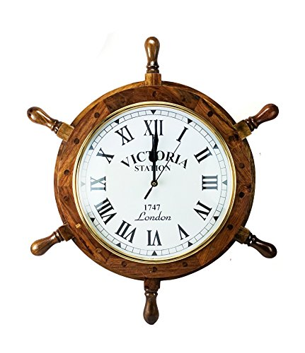 Nagina International Nautical Handcrafted Wooden Premium Wall Decor Wooden Clock Ship Wheels | Pirate's Accent | Maritime Decorative Time's Clock (16 Inches, Clock Size - 8 Inches)
