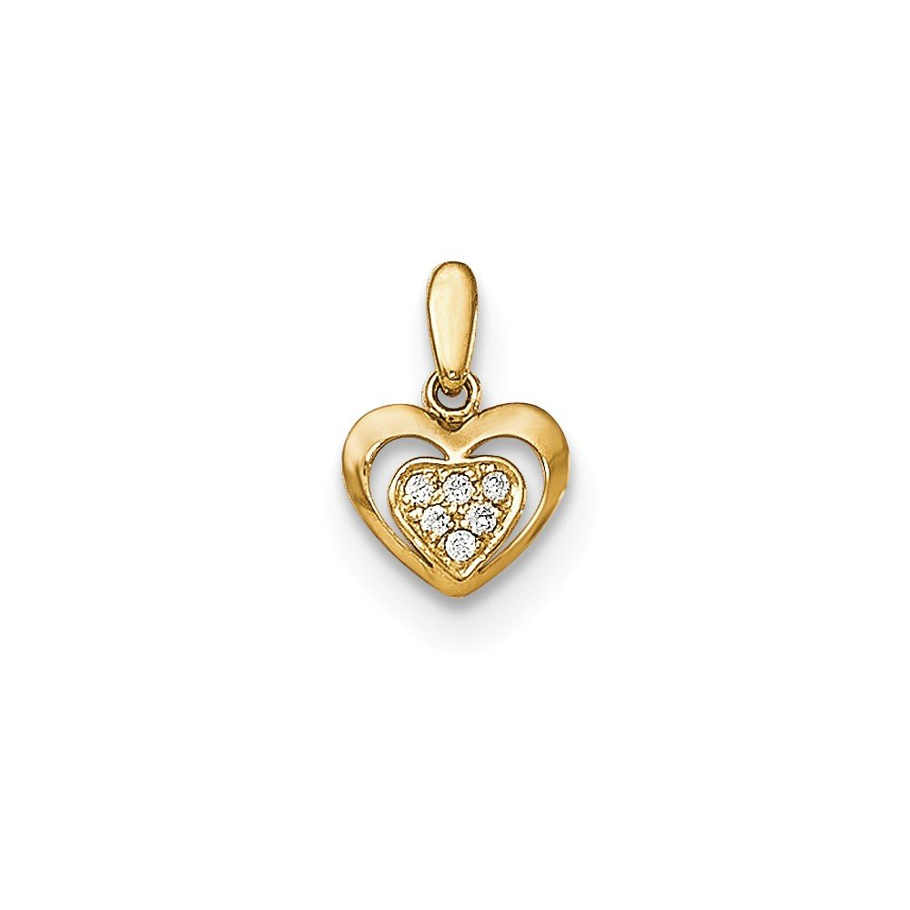 14k Yellow Gold CZ Childrens Heart Pendant