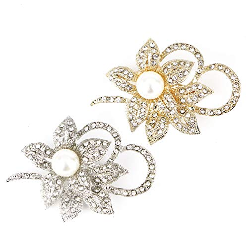 Monrocco 2Pcs Rhinestone Flower Brooch Pin Pearl Flower Brooch Crystal Brooches Pins for Women Dresses Wedding Party