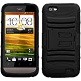 MYBAT AHTCONEVHPCSAAS001NP Advanced Armor Rugged Durable Hybrid Case with Kickstand for HTC One V - 1 Pack - Retail Packaging - Black