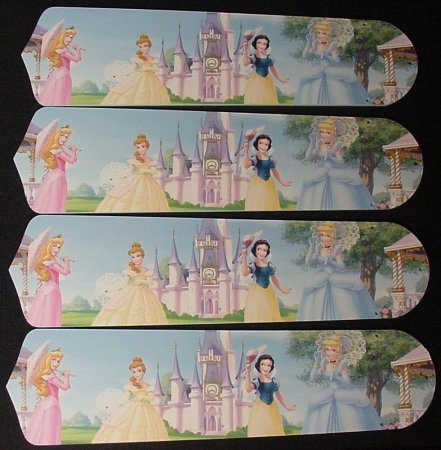 - Ceiling Fan Designers 42SET-DIS-PPE Disney Princesses- Castle 42 in. Ceiling Fan Blades Only