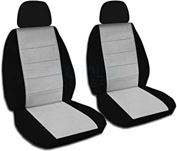 Semi-Custom Fit 22 Colors Front Will Make Fit Any Car//Truck//Van//RV//SUV Totally Covers 2-Tone Car Seat Covers w 2 Separate Headrest Covers: Black and Charcoal